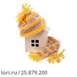 Купить «Домик в шапке с шарфом. Теплый дом», фото № 25879200, снято 31 марта 2017 г. (c) Наталья Осипова / Фотобанк Лори