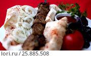 Купить «Freshly prepared barbecue skewer», видеоролик № 25885508, снято 12 июня 2013 г. (c) Gennadiy Iotkovskiy / Фотобанк Лори