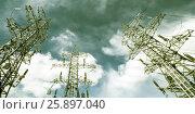 Купить «Линия электоропередачи (ЛЭП) на фоне синего неба», фото № 25897040, снято 7 марта 2017 г. (c) Сергеев Валерий / Фотобанк Лори