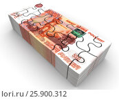 Купить «Пачка российских банкнот в виде головоломки», иллюстрация № 25900312 (c) WalDeMarus / Фотобанк Лори