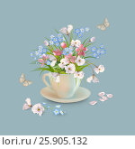 Herb and Flowers in the Cup. Стоковая иллюстрация, иллюстратор Костина Надежда / Фотобанк Лори