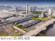 Купить «View on Odaiba Cityscape Tokyo , Japan», фото № 25905428, снято 16 ноября 2018 г. (c) BE&W Photo / Фотобанк Лори