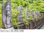Купить «Rows of Jizo stone statues forming pattern, seen straight on in Daisho-in temple, Miyajima, Japan», фото № 25905548, снято 20 сентября 2018 г. (c) BE&W Photo / Фотобанк Лори