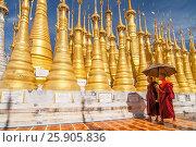 Купить «Golden stupas, Shwe Inn Thein Paya, Inthein, Inle Lake, Myanmar», фото № 25905836, снято 17 февраля 2020 г. (c) BE&W Photo / Фотобанк Лори