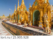 Купить «Shwedagon Paya is the most sacred golden buddhist pagoda in Yangon, Myanmar», фото № 25905928, снято 14 июля 2020 г. (c) BE&W Photo / Фотобанк Лори