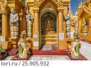 Купить «Shwedagon Paya is the most sacred golden buddhist pagoda in Yangon, Myanmar», фото № 25905932, снято 26 марта 2019 г. (c) BE&W Photo / Фотобанк Лори