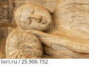 Купить «Buddha statue at Gal vihara temple in Polonnaruwa, Sri Lanka. The temple has four rock relief statues of the buddha carved of a large rock.», фото № 25906152, снято 16 октября 2018 г. (c) BE&W Photo / Фотобанк Лори