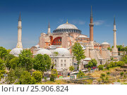 Купить «Hagia Sophia in Istanbul. The world famous monument of Byzantine architecture. Turkey.», фото № 25906824, снято 24 апреля 2018 г. (c) BE&W Photo / Фотобанк Лори