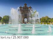Купить «Patuxai, Victory Gate, a replica of Arc de Triomphe, Vientiane, Laos, Indochina, Southeast Asia, Asia», фото № 25907080, снято 25 мая 2019 г. (c) BE&W Photo / Фотобанк Лори