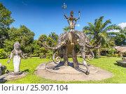 Купить «Statue of three headed elephant and warrior deity, Xieng Khuan Buddha Park, Vientiane, Laos», фото № 25907104, снято 26 мая 2019 г. (c) BE&W Photo / Фотобанк Лори