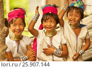 Купить «Young children of the Long-neck women Padaung Tribe, Thailand», фото № 25907144, снято 22 сентября 2019 г. (c) BE&W Photo / Фотобанк Лори