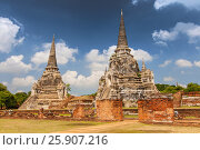 Old Chedi at the ruins Wat Phra Si Sanphet Temple, Thailand, Ayutthaya. Стоковое фото, агентство BE&W Photo / Фотобанк Лори