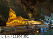 Купить «Golden statues of buddha in cave temple Wat Tham Suwankhuha cave (Monkey Cave) In Phang Nga, Thailand», фото № 25907352, снято 16 октября 2018 г. (c) BE&W Photo / Фотобанк Лори