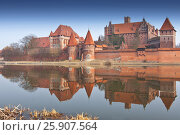 Купить «Malbork Castle and reflection in River Nogat, Poland», фото № 25907564, снято 21 июля 2019 г. (c) BE&W Photo / Фотобанк Лори