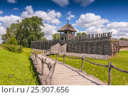 Купить «Reconstruction of the defensive shaft and gate to the Lusatian settlement in archeological museum in Biskupin, Poland», фото № 25907656, снято 22 марта 2019 г. (c) BE&W Photo / Фотобанк Лори