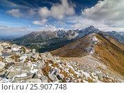 Купить «View from Kasprowy Wierch in High Tatra Mountains, Poland», фото № 25907748, снято 21 октября 2018 г. (c) BE&W Photo / Фотобанк Лори