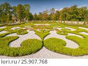 Купить «Ornamental east garden in Wilanow Royal Palace, Warsaw Poland», фото № 25907768, снято 25 марта 2019 г. (c) BE&W Photo / Фотобанк Лори