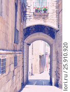 Купить «Arch over old narrow street of european city», фото № 25910920, снято 12 июня 2014 г. (c) Яков Филимонов / Фотобанк Лори