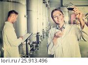 Купить «Man and woman employees on winery manufactory», фото № 25913496, снято 28 мая 2018 г. (c) Яков Филимонов / Фотобанк Лори