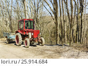 Купить «Универсальный колесный трактор Владимирец Т-25, предназначеный для сельскохозяйственных работ на небольших площадях», фото № 25914684, снято 2 апреля 2017 г. (c) Наталья Гармашева / Фотобанк Лори
