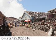 Купить «Приют паломников на вершине священной горы Фудзи в Японии», фото № 25922616, снято 9 августа 2016 г. (c) Иван Марчук / Фотобанк Лори