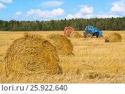Купить «Трактор на сельскохозяйственных работах», фото № 25922640, снято 19 августа 2012 г. (c) Дмитрий Грушин / Фотобанк Лори