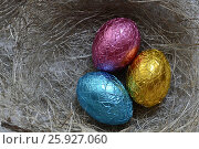 Пасхальные разноцветные яйца. Стоковое фото, фотограф Наталья Уварова / Фотобанк Лори
