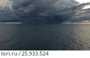Купить «Flying over sea to thunderstorm on horizon», видеоролик № 25933524, снято 12 января 2017 г. (c) Михаил Коханчиков / Фотобанк Лори