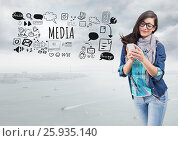 Woman on phone and Media text with drawings graphics. Стоковое фото, агентство Wavebreak Media / Фотобанк Лори