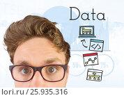 Купить «Man with glasses and Data text with drawings graphics», фото № 25935316, снято 23 августа 2019 г. (c) Wavebreak Media / Фотобанк Лори