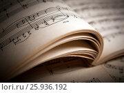 Купить «Open large music book close up», фото № 25936192, снято 8 апреля 2017 г. (c) Александр Калугин / Фотобанк Лори