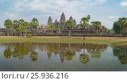 Купить «Angkor Wat temple landscape in Siem Reap, Cambodia», видеоролик № 25936216, снято 7 декабря 2016 г. (c) Михаил Коханчиков / Фотобанк Лори