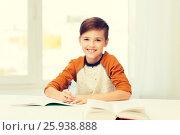 Купить «smiling student boy writing to notebook at home», фото № 25938888, снято 24 октября 2015 г. (c) Syda Productions / Фотобанк Лори