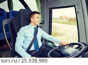 Купить «happy driver talking to microphone and driving bus», фото № 25938980, снято 21 октября 2015 г. (c) Syda Productions / Фотобанк Лори