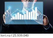 Купить «close up of businessman touching virtual chart», фото № 25939040, снято 6 сентября 2016 г. (c) Syda Productions / Фотобанк Лори