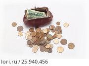 Кошелек с монетами 20 века. Стоковое фото, фотограф Olga Far / Фотобанк Лори