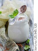 Купить «Jar with homemade yogurt and flax seeds», фото № 25945120, снято 15 марта 2017 г. (c) Марина Сапрунова / Фотобанк Лори