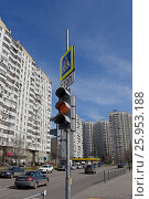Светофор на пешеходном переходе, эксклюзивное фото № 25953188, снято 9 апреля 2017 г. (c) Юрий Морозов / Фотобанк Лори