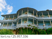 Купить «Carved wooden balcony in Tbilisi Georgia», фото № 25957336, снято 25 сентября 2016 г. (c) Elena Odareeva / Фотобанк Лори