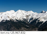 Купить «Ski resort Rosa Khutor. Mountains of Krasnaya Polyana. Sochi, Russia», фото № 25967832, снято 10 февраля 2016 г. (c) Сергей Лаврентьев / Фотобанк Лори