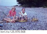 1983 год, Сочи, море, отдых. Счастливое детство. Девочки на морском берегу сушат рыбу, обмахивают ее от мух. Редакционное фото, фотограф Наталия Преображенская / Фотобанк Лори