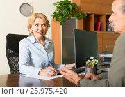 Купить «Senior man with bank manager», фото № 25975420, снято 17 июня 2014 г. (c) Яков Филимонов / Фотобанк Лори