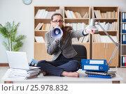 Купить «Businesswoman with loudspeaker in office», фото № 25978832, снято 13 января 2017 г. (c) Elnur / Фотобанк Лори