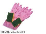Купить «High angle view of gloves with sponge», фото № 25980384, снято 21 октября 2016 г. (c) Wavebreak Media / Фотобанк Лори