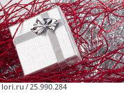 Small christmas gift in red christmas decorations, фото № 25990284, снято 3 сентября 2011 г. (c) Tatjana Romanova / Фотобанк Лори