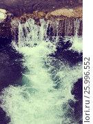 Купить «Fast mountain stream among the stones spring a thaw in the forest», фото № 25996552, снято 11 марта 2017 г. (c) Дмитрий Брусков / Фотобанк Лори