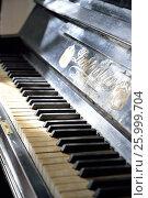 Купить «Клавиатура старинного фортепиано в музее-усадьбе художника-карикатуриста П.Е. Щербова в Гатчине», фото № 25999704, снято 29 марта 2017 г. (c) Максим Мицун / Фотобанк Лори