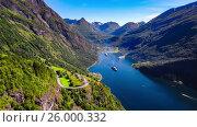 Купить «Geiranger fjord, Beautiful Nature Norway Aerial footage.», видеоролик № 26000332, снято 3 марта 2017 г. (c) Андрей Армягов / Фотобанк Лори