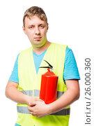 Купить «Vertical portrait of a man in a vest with a fire extinguisher on a white background», фото № 26000360, снято 22 июня 2016 г. (c) Константин Лабунский / Фотобанк Лори