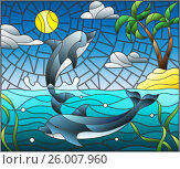 Купить «Illustration in stained glass style with a pair of dolphins on the background of water ,cloud, sky ,sun and Islands with palm trees», иллюстрация № 26007960 (c) Наталья Загорий / Фотобанк Лори